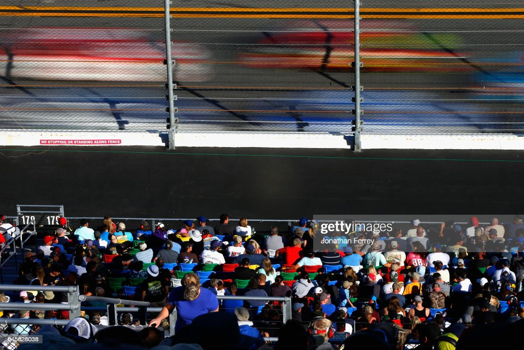 Race fans look on during the 59th Annual DAYTONA 500 at Daytona International Speedway on February 26, 2017 in Daytona Beach, Florida.