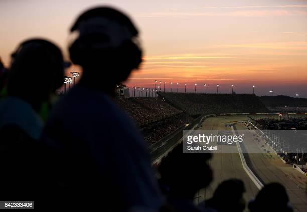 Race fans look on during the Monster Energy NASCAR Cup Series Bojangles' Southern 500 at Darlington Raceway on September 3 2017 in Darlington South...