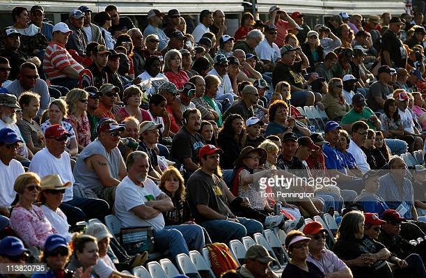 Race fans look on prior to the start of the NASCAR Nationwide Series Royal Purple 200 at Darlington Raceway on May 6 2011 in Darlington South Carolina
