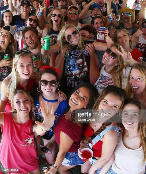 Race fans participate in festivities prior to the Monster Energy NASCAR Cup Series Bojangles' Southern 500 at Darlington Raceway on September 3 2017...