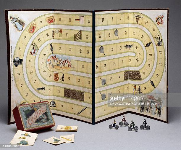 Race game with dice Cyclists by J Jaques and Son England early 20th century Milan Museo Del Giocattolo E Del Bambino