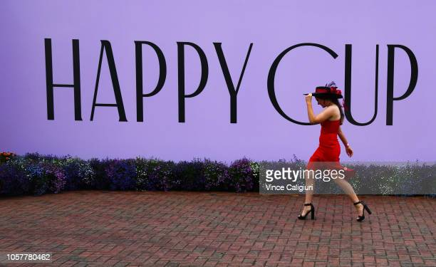 Race goers arrive for Melbourne Cup Day at Flemington Racecourse on November 6 2018 in Melbourne Australia