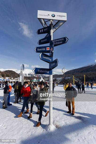 Race goers enjoy the sun on the frozen lake between today White Turf races on February 12 2017 in St Moritz Switzerland 'White Turf is a series of...