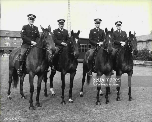 L to R Police Horses at the Police Barracks todayGaleb Sgt Don Rowland Big Scope Const/1st class Geoff Smith Bye John Const Maurice Wood Grant Parade...