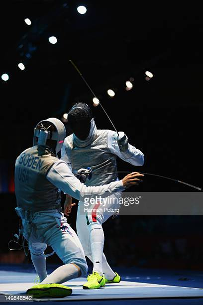 Race Imboden of the United States of America competes against Andrea Baldini of Italy during the Men's Foil Team Fencing semifinal on Day 9 of the...