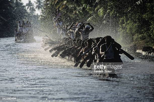 Race in the Alappuzha region during the annual harvest festival Onam Chundan Vallam or snake boats are over 100 feet long with about one hundred...
