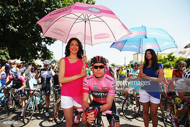 Race leader and wearer of the maglia rosa Cadel Evans of Australia and BMC Racing Team waits on the start line ahead of the eleventh stage of the...