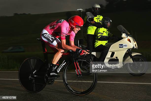 Race leader and wearer of the maglia rosa Cadel Evans of Australia and BMC Racing Team in action during the twelfth stage of the 2014 Giro d'Italia a...