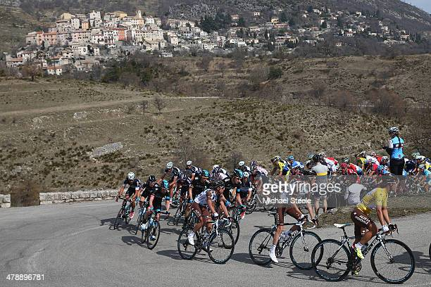 Race leader and yellow jersey Carlos Gomez Betancur of Colombia and AG2R La Mondiale leads the way up Col de Vence during stage 7 of the ParisNice...