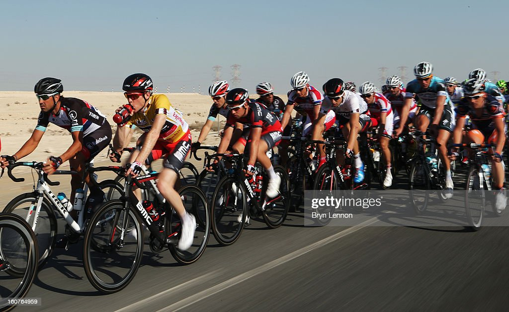 Race leader Brent Bookwalter of the USA and the BMC Racing Team rides in the peloton during stage three of the Tour of Qatar from Al Wakra to Mesaieed on February 5, 2013 in Doha, Qatar.