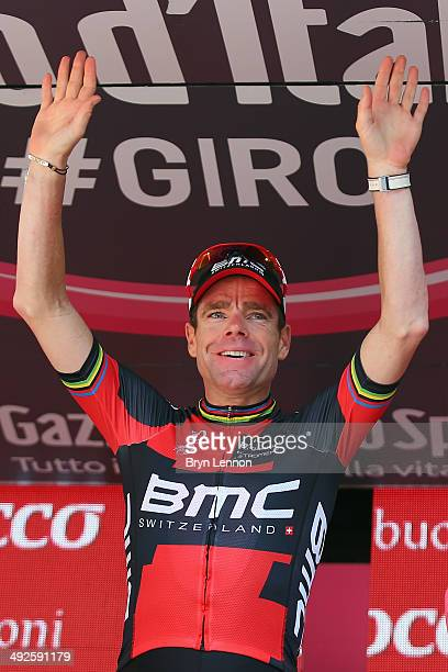 Race leader Cadel Evans of Australia and BMC Racing Team celebrates on the podium after the eleventh stage of the 2014 Giro d'Italia a 249km medium...