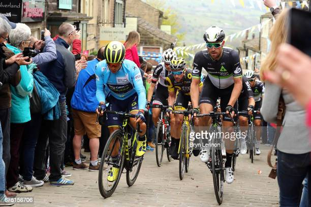 Race leader Caleb Ewan of Australia and OricaScott rides through Howarth during stage 3 of the 2017 Tour de Yorkshire a 1945km road stage from...