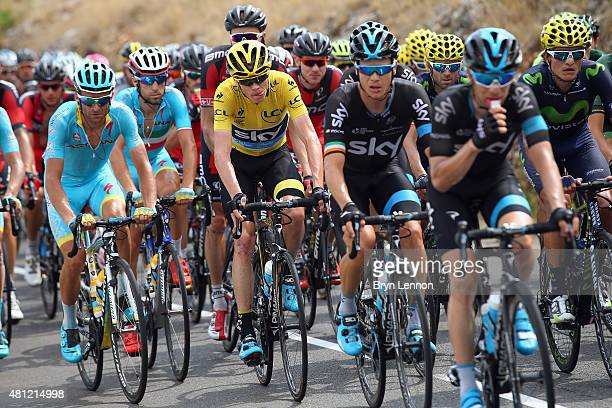 Race leader Chris Froome of Great Britain and Team Sky in action on stage 14 of the 2015 Tour de France a 178km stage from Rodez to Mende on July 18...