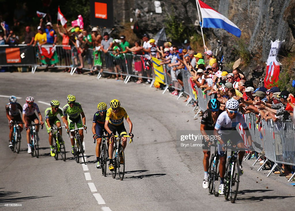 Race leader Chris Froome (centre/yellow) of Great Britain and Team Sky loses some distance as Nairo Quintana (R) of Colombia and Movistar Team attacks on the Alpe d'Huez during the twentieth stage of the 2015 Tour de France, a 110.5 km stage between Modane Valfrejus and L'Alpe d'Huez on July 25, 2015 in Modane Valfrejus, France.