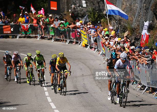 Race leader Chris Froome of Great Britain and Team Sky loses some distance as Nairo Quintana of Colombia and Movistar Team attacks on the Alpe d'Huez...