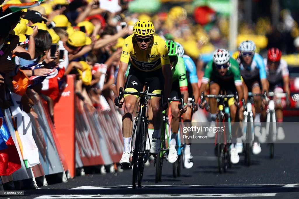 Race leader Chris Froome of Great Britain and Team SKY sprints for the finishline on stage fifteen of the 2017 Tour de France, a 189.5km road stage from Laissac-Severac I'Eglise to Le Puy-en-Velay, on July 16, 2017 in Le Puy-en-Velay, France.