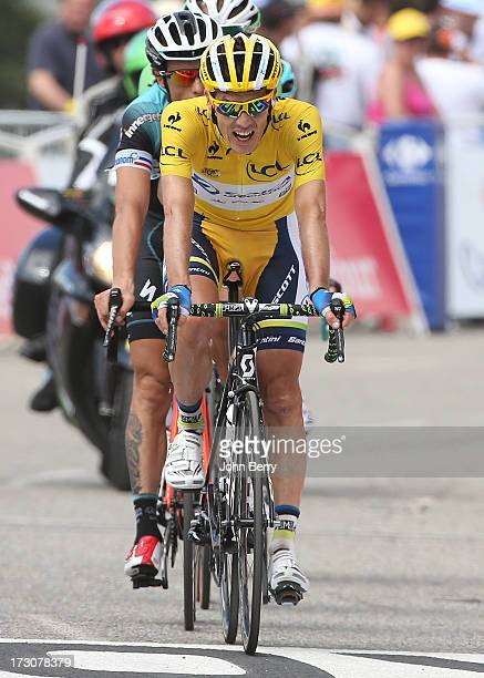 Race leader Daryl Impey of South Africa and Team Orica GreenEdge finishes Stage Eight of the Tour de France 2013 the 100th Tour de France a 195 km...