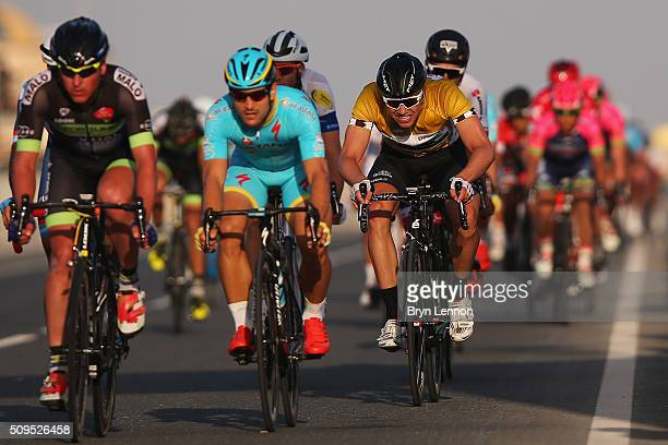 Race leader Edvald Boasson Hagen pushes for the finish line on stage four of the 2016 Tour of Qatar a 189km road stage from Al Zuberah Fort to...