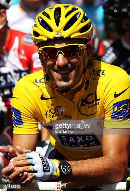 Race leader Fabian Cancellara of Switzerland and Team Saxo Bank prepares for stage one of the 2010 Tour de France from Rotterdam to Brussels on July...