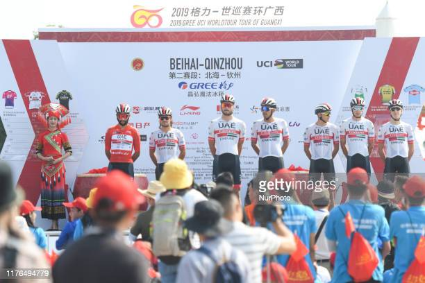 Race leader, Fernando Gaviria of Colombia and his team-mates of UAE Team Emirates seen ahead of the second stage, 152.3km Beihai-Qinzhou stage, of...