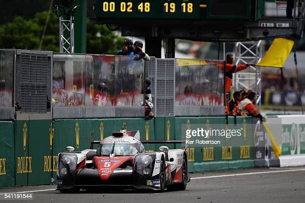 Race leader Kazuki Nakajima of Toyota Gazoo Racing suffers engine problems with less than 3 minutes to run of the Le Mans 24 Hour race handing...