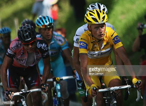 Race leader Michael Rasmussen of Denmark and Rabobank rides up the final climb during stage 15 of the 2007 Tour de France from Foix to Loudenvielle...