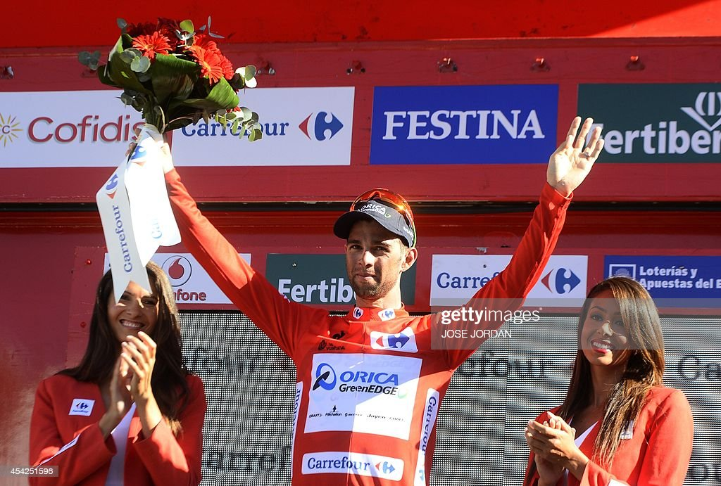 Race leader Orica GreenEdge's (OGE) Australian rider Michael Matthews celebrates on the podium after the fifth stage of the 69th edition of 'La Vuelta' Tour of Spain, a 180km ride from Priego de Cordoba to Ronda, on August 27, 2014.