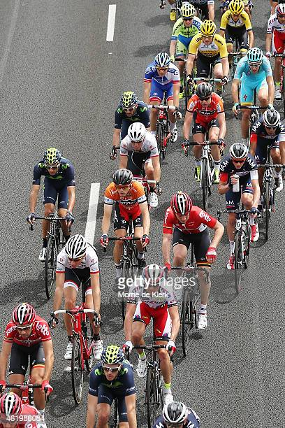 Race leader Rohan Dennis and BMC Racing teammate Cadel Evans rides amongst the peleton during Stage 4 of the 2015 Santos Tour Down Under on January...