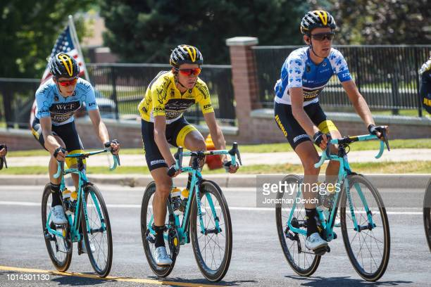 Race leader Sepp Kuss of the United States and Team LottoNL - Jumbo rides in the yellow jersey during stage 3 of the 14th Larry H. Miller Tour of...