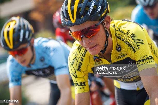 Race leader Sepp Kuss of the United States and Team LottoNL Jumbo rides in the peloton during stage 4 of the 14th Larry H Miller Tour of Utah on...