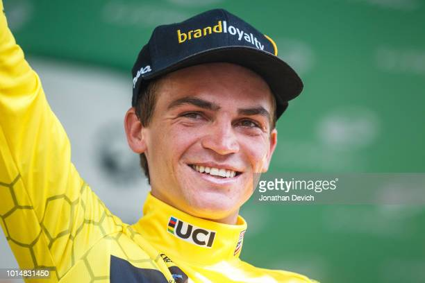 Race leader Sepp Kuss of the United States and Team LottoNL Jumbo on the podium after stage 4 of the 14th Larry H Miller Tour of Utah on August 10...