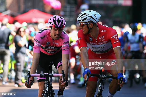 Race leader Tom Dumoulin of The Netherlands and Team Giant Alpecin chats to Marcel Kittel of Germany and Etixx QuickStep at the start of stage three...