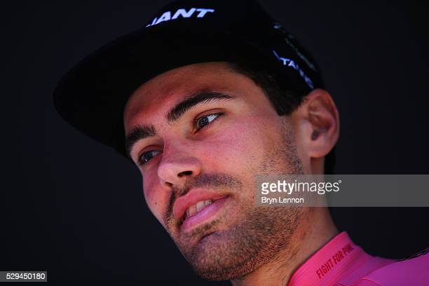 Race leader Tom Dumoulin of The Netherlands and Team Giant Alpecin looks on at the start of stage three of the 2016 Giro d'Italia after a 190km stage...