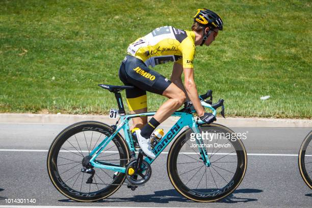 Race leaders Sepp Kuss of the United States and Team LottoNL - Jumbo rides in the yellow jersey during stage 3 of the 14th Larry H. Miller Tour of...