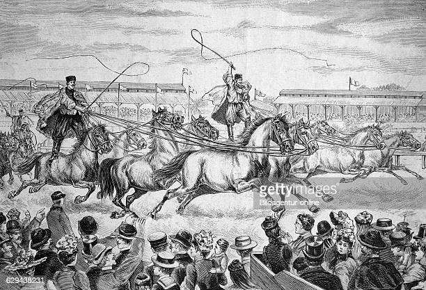 Race of ezikos in the hippodrome in berlin, germany, historical illustration circa 1893