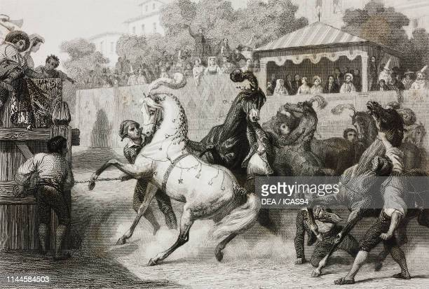Race of riderless horses during the Roman Carnival Rome Italy drawing by Karl Girardet etching by Paul Girardet from Rome souvenirs religieux...