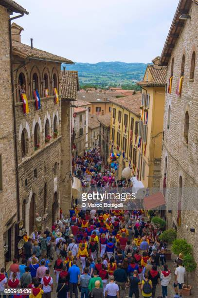 race of the candles festival. gubbio, italy. - gubbio stock pictures, royalty-free photos & images