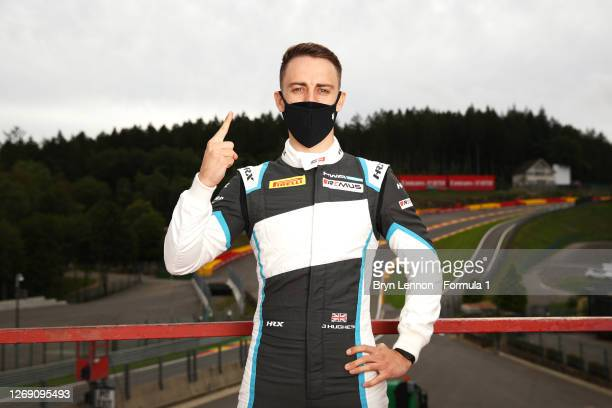 Race one winner in Barcelona, Jake Hughes of Great Britain and HWA Racelab poses for a photo during previews ahead of the Formula 3 Championship at...