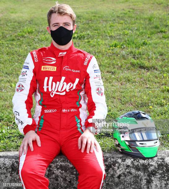 Race one winner in Monza, Frederik Vesti of Denmark and Prema Racing poses for a photo during previews ahead of the Formula 3 Championship at Mugello...