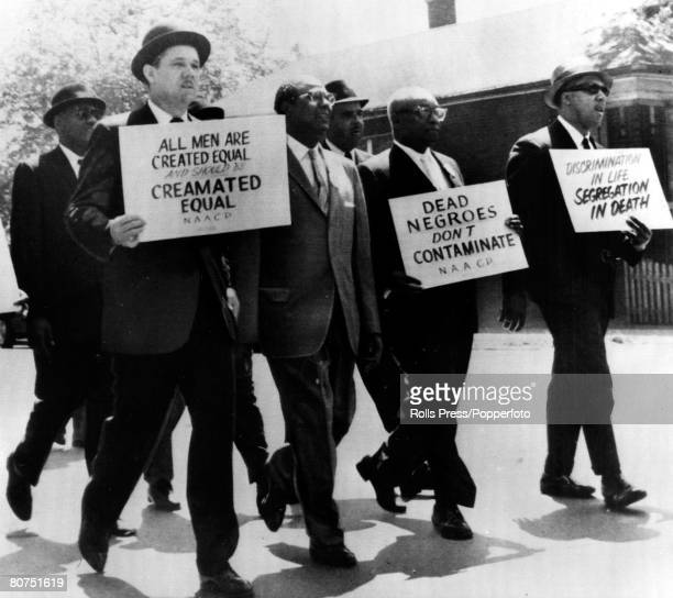 31st May 1963 Chicago Illinois Black demonstrators protesting against a reported refusal of a cemetry to cremate the body of a black woman in yet...