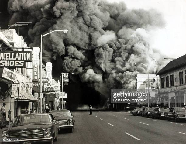 1967 Detroit Michigan A huge pall of smoke pours from a burning building during race riots in the city
