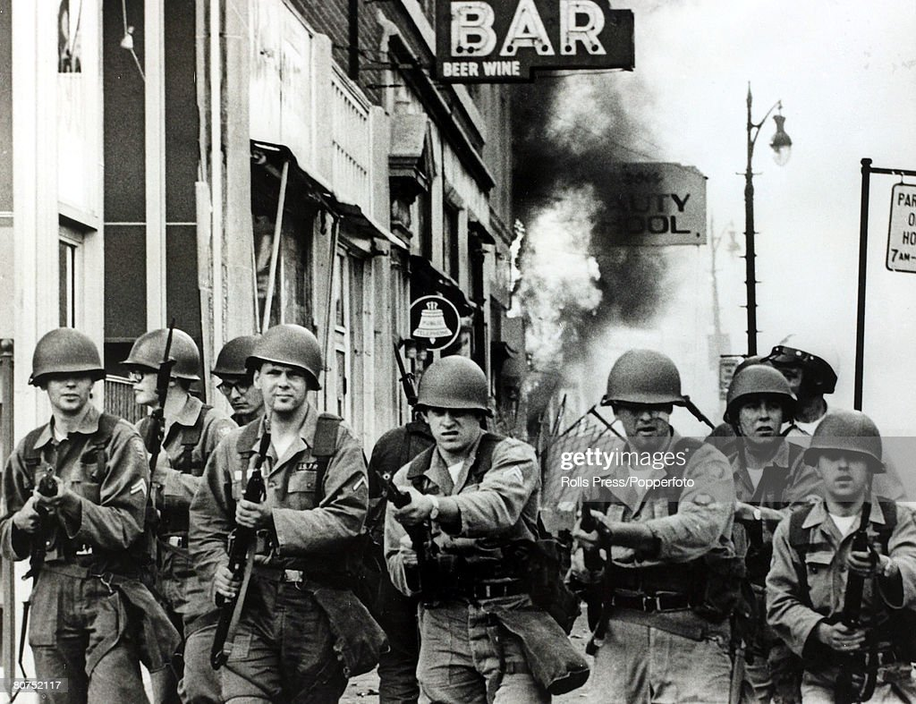 27th July1967, Detroit, Michigan, Tough looking Michigan National Guardsmen with fixed bayonets on the streets during race riots in the city