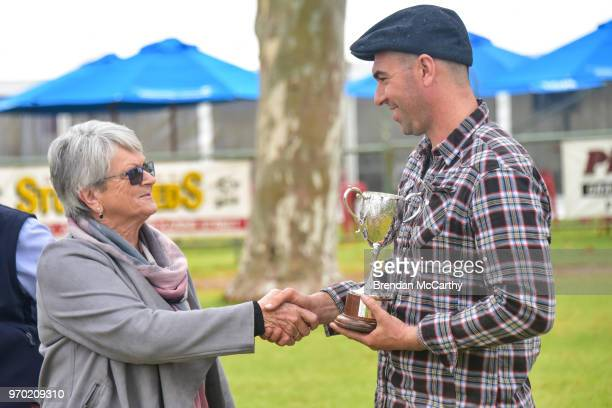 Race sponsor Judy Cameron and Symon Wilde after winning the NothWest Ag Quambatook Cup at Swan Hill Racecourse on June 09 2018 in Swan Hill Australia