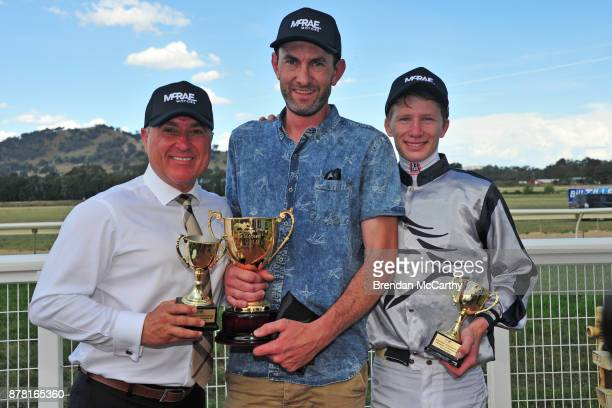 Race Sponsor Mick Bromley Dealer Principal at McRae Motors Michael Roebuck and Damien Thornton after winning the McRae Motors Wodonga Gold Cup at...