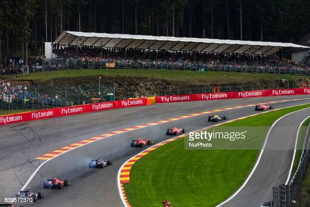 Race start during the Race 1 of the FIA Formula 2championship at Circuit de SpaFrancorchamps on August 26 2017 in Spa Belgium