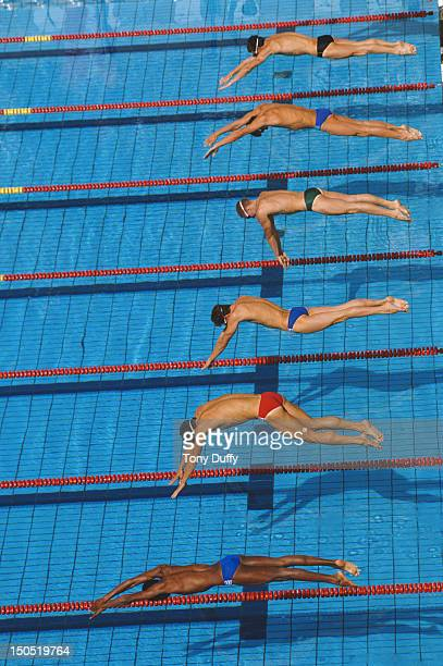 Race start for a heat of the Men's 200m Breastroke at the V FINA World Swimming Championships on 15th August 1986 in Madrid Spain