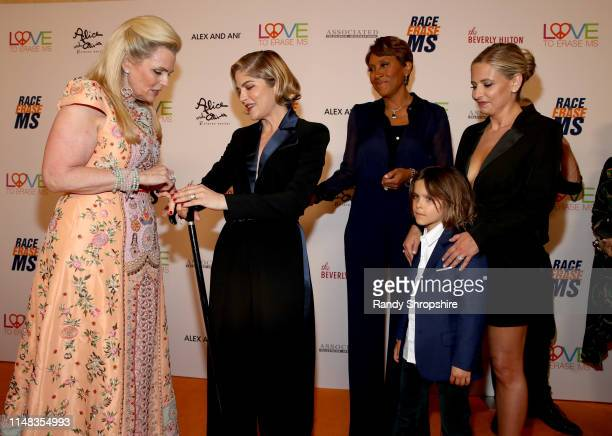 Race to Erase MS founder Nancy Davis, Honoree Selma Blair, Robin Roberts, Arthur Saint Bleick and Sarah Michelle Gellar attend the 26th annual Race...