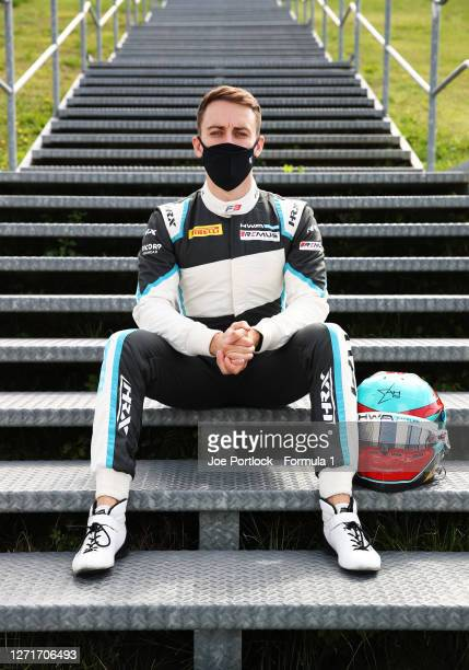 Race two winner from Monza Jake Hughes of Great Britain and HWA Racelab poses for a photo during previews ahead of the Formula 3 Championship at...