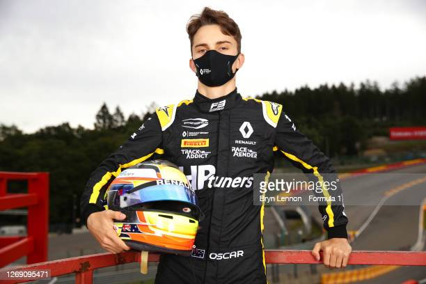 Race two winner in Barcelona, Oscar Piastri of Australia and Prema Racing poses for a photo during previews ahead of the Formula 3 Championship at...
