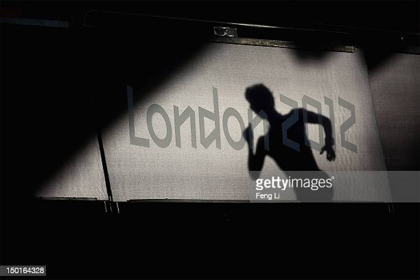 A race walker competes during the Women's 20km Walk final on Day 15 of the London 2012 Olympic Games on the streets of London on August 11 2012 in...